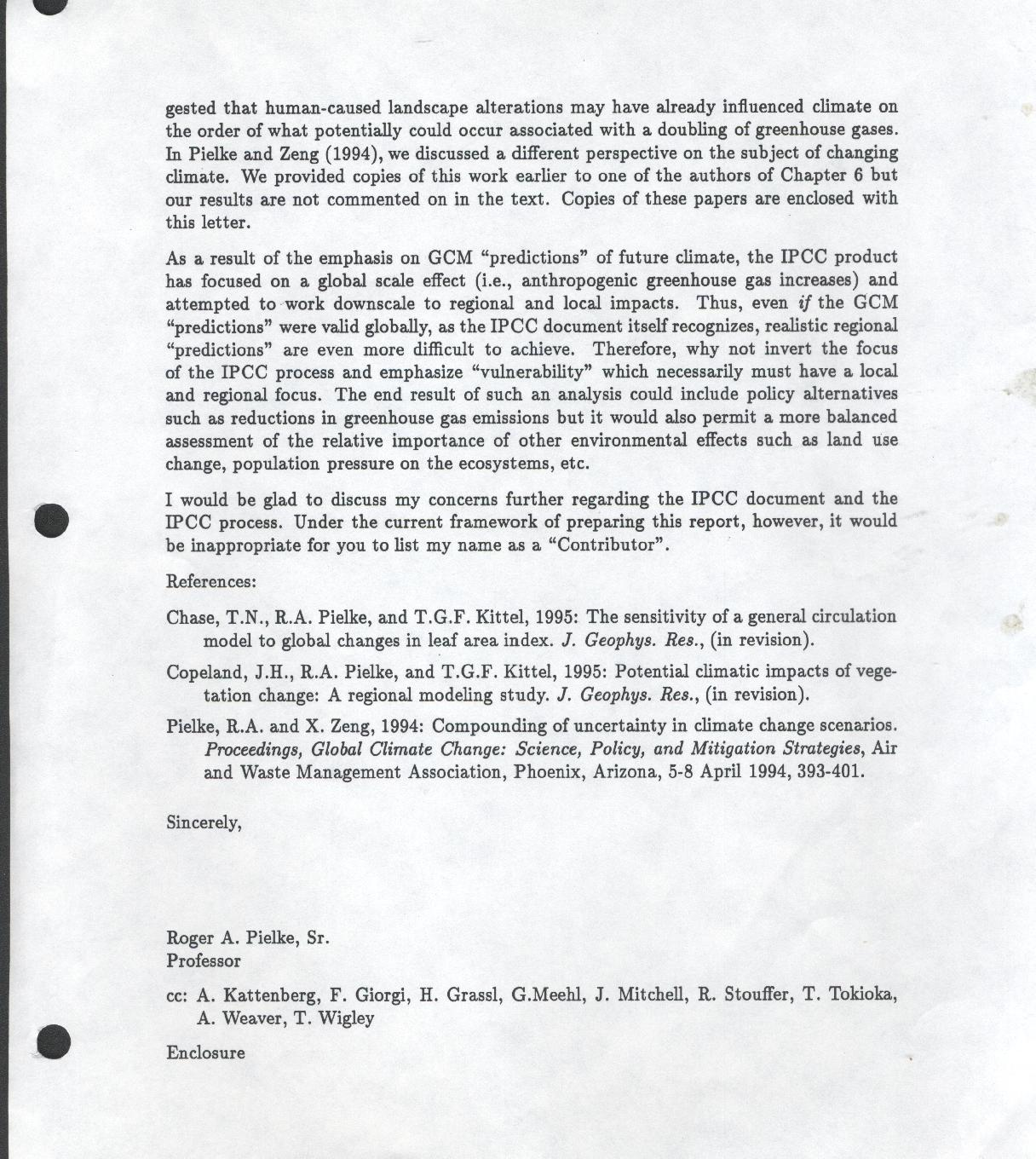 My 1995 Resignation Letter From The IPCC | Climate Science: Roger ...